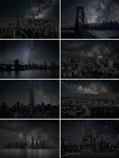 "Images from digital photographer Thierry Cohen, who envisions what cities around the world would look like after dark in his series Villes éteintes (""Darkened Cities"").    To create the images he travelled to regions far away from all artificial light, but on the same latitude as major cities. He photographed the skies, and then combined those images with photographs of the cities in question, altered to remove all lighting.    http://thierrycohen.com/  Thanks to : I fucking love science"