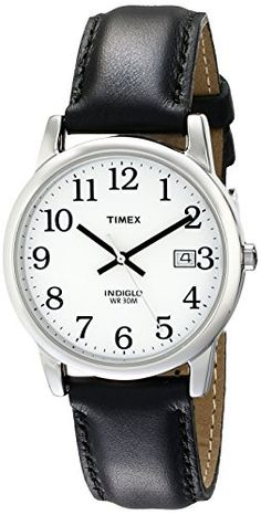 Timex Men's Easy Reader Silver-Tone Watch with Black Leather Band Easy Reader, Timex Watches, Men's Watches, Amazing Watches, Watches For Men, Wrist Watches, Emporio Armani, Apple Watch, Black Silver
