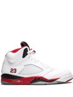 Jordan Air Jordan 5 Retro hi-top sneakers - White Air Jordan Sneakers, Shoes Sneakers, Retro Sneakers, White Sneakers, Baskets, Nike Air, Fresh Shoes, Air Jordan 5 Retro, Running Shoes For Men