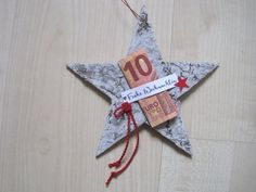 Cash gift star, Christmas gift, A star made of birch bark has been lovingly decorated with the words Merry Christmas. A banknote can be placed under this Christmas greeting, which was stamped by Christmas Bows, Christmas Crafts, Xmas, Christmas Ornaments, Present Christmas, German Christmas, Diy Birthday, Birthday Gifts, Don D'argent