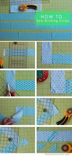 How To Sew Binding Strips Together.. Full tutorial on the HaberdasheryFun blog