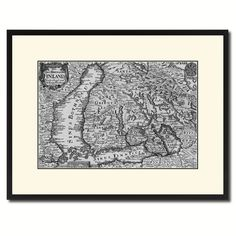 Finland Centuries Vintage B&W Map Canvas Print, Picture Frame Home Decor Wall Art Gift Ideas