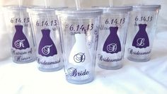 wedding tumblers | Tumbler for Bride and Bridesmaids, Wedding party acrylic glasses ...