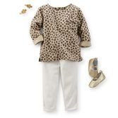 Embellish her first denim with a leopard print top and fun sparkle hair clips and glitter-covered ballet flats.