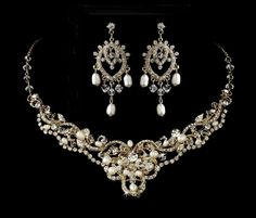 Gorgeous Freshwater Pearl and Crystal Gold plated Wedding Necklace and Chandelier Earrings - Affordable Elegance Bridal -