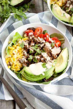 Tex Mex Salad with Sriracha Crema