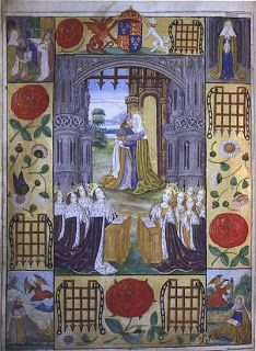 The Meeting of Anne and Joachim at the Golden Gate. English illumination by unknown artist 1503, from a Book of Hours or Hours of the Virgin. For further details see: http://imaginemdei.blogspot.co.uk/2011/07/glorious-st-anne-iconography-of-st-anne_18.html