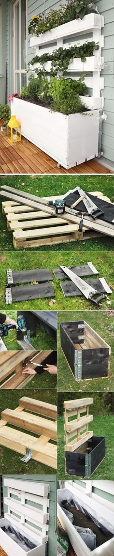 Awesome DIY Pallet Planter Box // raised planter garden for small spaces