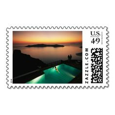 Watching a scenic sunset, Santorini, Greece. Stamps. Wanna make each letter a special delivery? Try to customize this great stamp template and put a personal touch on the envelope. Just click the image to get started!