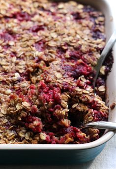 Waking up to a warm breakfast isn't hard to do when this baked raspberry oatmeal is on the menu! You can make it the night before and then reheat the next morning, served with a drizzle of brown butter.