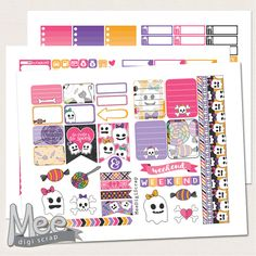 Pink cute Halloween planner stickers,printable planner stickers for use in Erin Condren planner,instant download,holiday stickers,october by MeeDigiScrap on Etsy