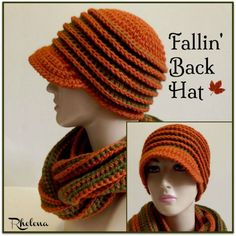 This neat hat pattern is perfect for the fall and upcoming cold months. Enjoy this Crochet Fallin' Back Hat Pattern by CrochetNCrafts! Crochet Adult Hat, Crochet Cap, Crochet Beanie, Crochet Scarves, Crochet Clothes, Crochet Stitches, Crochet Hooks, Free Crochet, Knitted Hats