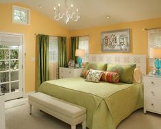 Green and yellow room w/ a  pop of turquoise - maybe this will convince mom that it could work??