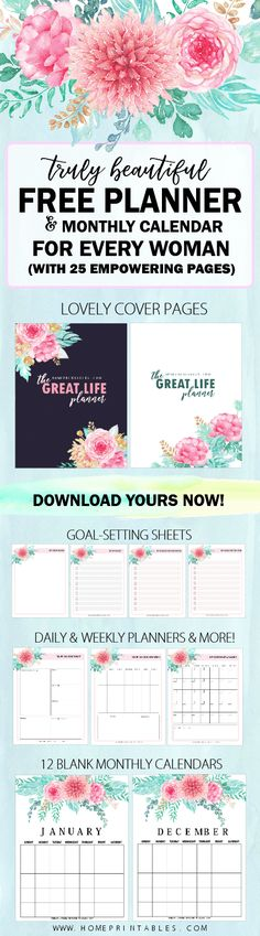 Grab this FREE amazing printable planner with 25 planning pages with blank calendars in beautiful florals! #planner #plannercommunity #journal #freeplanner #printable #2018planner #free
