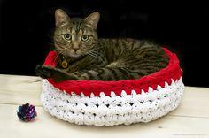 Haz una cama para gato a crochet con una aguja gigante. | 26 Cosas que puedes hacer tú mismo y que tu mascota apreciará