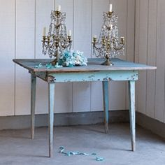 Vintage blue table and table top chandeliers Rachel Ashwell Shabby Chic Couture