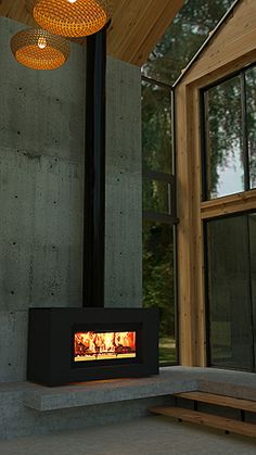 Stovax Studio 2 NZ Freestanding ZCB Wood Fire A fireplace is actually a structure fabricated from br House Design, New Home Designs, Cabin Fireplace, Modern Cabin, Freestanding Fireplace, Wood Burning Fireplace, Modern Fireplace, Fireplace Logs