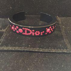 Dior Blk Lucite Rare/Red Crystals Lg Sz Bracelet