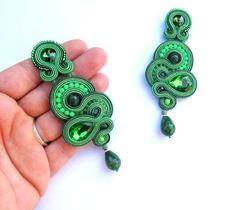 Clip-On Earrings, Long Green Earrings, Soutache Earrings, Drop Earrings, Clip on Earrings Dangle, Long Earrings   These Clip-on earrings Ive made using soutache braids, crystals, jade drops, glass beads, plated findings. They are matching very well wih any everyday look and also can be very original addition to cocktail dress for women who appreciate originality and style. These soutache earrings are very lightweight and 10,2cm/4 inches long. Ive made them in soutache embroidery techniqu...
