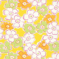 Giggles Yellow Floral Fabric  Moda  Me and by QuiltsFabricandmore, $9.99
