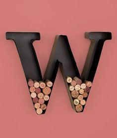 "New Metal Monogram Letter Initial ""W"" Wine Cork Holder Wall Art Bar Home Decor"