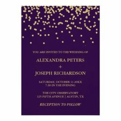 Glam Faux Gold Confetti and Deep Purple Wedding Card Outdoor Wedding Invitations, Silver Wedding Invitations, Wedding Cards, Wedding Bride, Wedding Planner, Gold Confetti, Wedding Confetti, Rapunzel Wedding Dress, Deep Purple Wedding