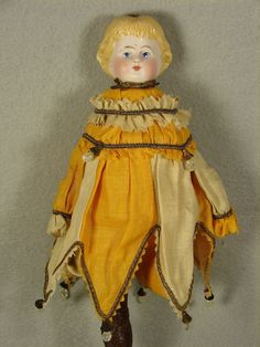Carol H. Straus - Class: Make a Marotte Doll - Blond shoulder head, carved wood handle, antique trims including crystal tear drops. Made by Carol H. Straus