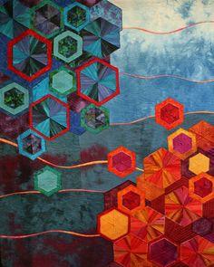 Bokeh Effect Hexagon Art Quilt Rachel Derstine Textile Fiber Art, Textile Artists, Quilting Projects, Quilting Designs, Art Quilting, Quilt Art, Asian Quilts, Bright Quilts, Quilt Modernen