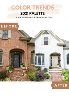 Transform your home's exterior with BEHR® Color Trends 2021 Palette! Colors available at The Home Depot -  Door: Sierra (N240-4), Brick: Smoky White (BWC-13) #BEHRTrends2021 #21DaysofColor #Ad