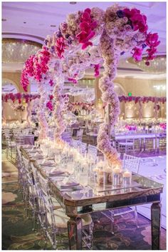 stunning ballroom wedding centerpiece idea; via Details Details