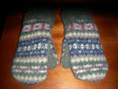 Blue Green Striped Felted Wool Mittens made from by MittenMomma, $20.00