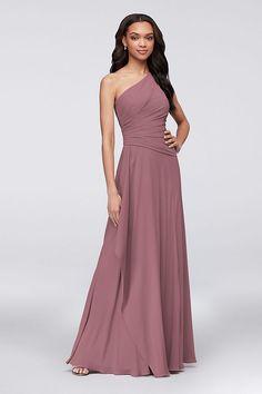 One-Shoulder Georgette Cascade Bridesmaid Dress   David's Bridal