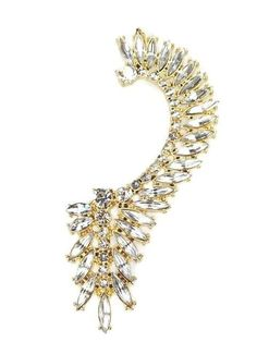 Stunning Over Ear Cuff with Clear Crystals Gold Plated Pierced Earring #EarCuff