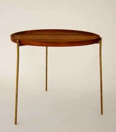 Carl Auböck; Brass and Nut Wood Tray Table, 1950s.