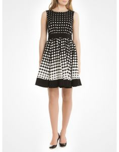 Gradient polka dot flare dress - Black Dresses