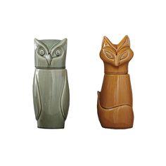 "Retro Owl & Fox Jars | dotandbo.com $14.99 QUALITIES  Dimensions (Owl): 10"" H  Dimensions (Fox): 10.25"" H  Material: Stoneware  Sold individually"