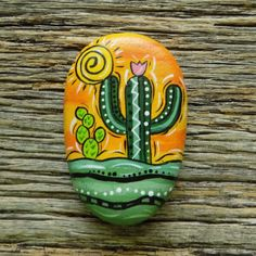 Cactus Painting, Cactus Art, Pebble Painting, Pebble Art, Stone Painting, Painted Rock Cactus, Painted Rocks Craft, Hand Painted Rocks, Rock Painting Patterns