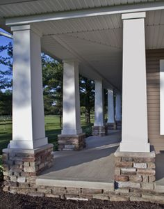 covered porches with just enough stone