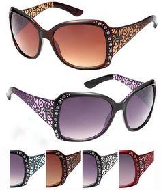Women Rhinestone Sunglasses with Patterns Case Pack 24