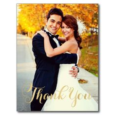 Elegant Romantic Beautigul Wedding Photo Picture Note Cards | THANK YOU Gold Script   #wedding #thankyou #cards