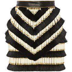 Balmain - Embellished Leather Mini Skirt (2 455 AUD) ❤ liked on Polyvore featuring skirts, mini skirts, gonne, black, balmain, mini skirt, leather miniskirt, short leather skirt and embellished skirt