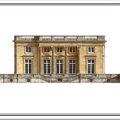 Versailles, Petit Trianon, facade to Jardin Francaise, as built, watercolor Andrew Zega and Bernd H. Dams.
