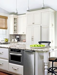 Large island with built-in microwave and trash compactor. Kitchenette, New Kitchen, Kitchen Dining, Kitchen Ideas, Awesome Kitchen, Kitchen Island, Diy Design, Home Repair Services, Up House