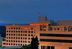 Sunset reflects from the windows at Sacred Heart Medical Center, Spokane, Washington