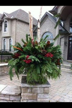 Beautiful Christmas Urn, created by Russell Rossini, London ON CA Outdoor Christmas Planters, Christmas Urns, Front Door Christmas Decorations, Christmas Greenery, Christmas Flowers, Christmas Centerpieces, Christmas Holidays, Christmas Wreaths, Christmas Urn Fillers