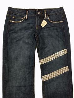 A7 Embellished Jeans Women's Skinny Stretch Striped Swarovski Crystal Low Rise #A7 #SlimSkinny