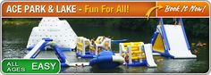 "Ace Adventure Resort in WV.  Whitewater rafting, horseback riding, mud obstacle course, camping, 5-acre Lake FLOATING PLAYGROUND offers up a whole new way to play, including: • 40' tall Wet Willie Waterslide • Tower Zip-Line • Huge inflatable toys like the 15' Iceberg Climbing Wall • Water Trampolines and Launch Bags (The ""Blob"" to those in the know) • Spinning Saturn Balls • Volleyball, Tether ball and a Giant chess board • Hiking and biking trails"