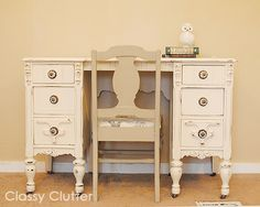 Chalk Paint Desk and Chair Makeover - Classy Clutter
