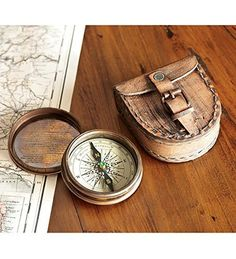 Antiqued Brass Poem Compass With Leather Case. For product info go to:  https://all4hiking.com/products/antiqued-brass-poem-compass-with-leather-case/
