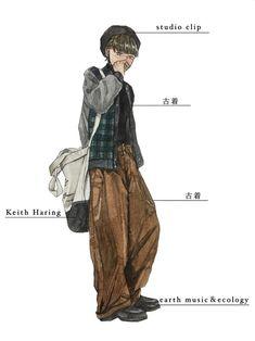 今回はmyコーデ。 自分を描くのは初めてかもしれません🐾 ついこの間古着屋で買ったメンズのパンツが Keith Haring, Easy Drawings, Harem Pants, Studio, Outfit Ideas, How To Wear, Outfits, Fashion, Moda